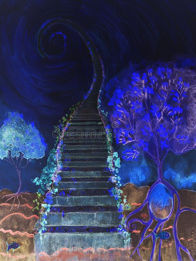 Cosmic ladder with tree of life in the blue hour. The dabbing technique near the edges gives a soft focus effect due to the altered surface roughness of the stock photo