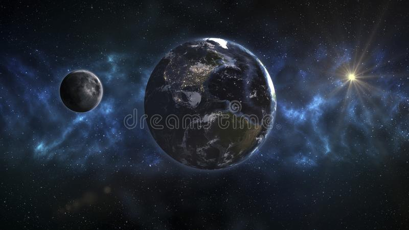 Cosmic landscape, beautiful science fiction wallpaper with endless deep space. Elements of this image furnished by NASA stock illustration