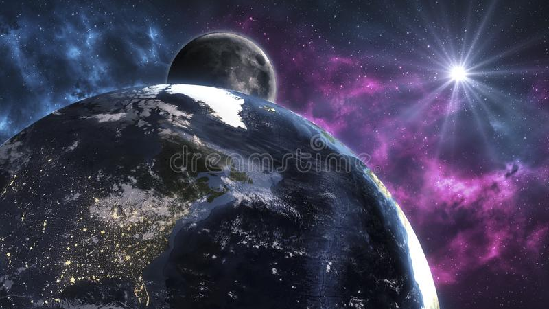 Cosmic landscape, beautiful science fiction wallpaper with endless deep space. Elements of this image furnished by NASA. Cosmic landscape, beautiful science stock illustration