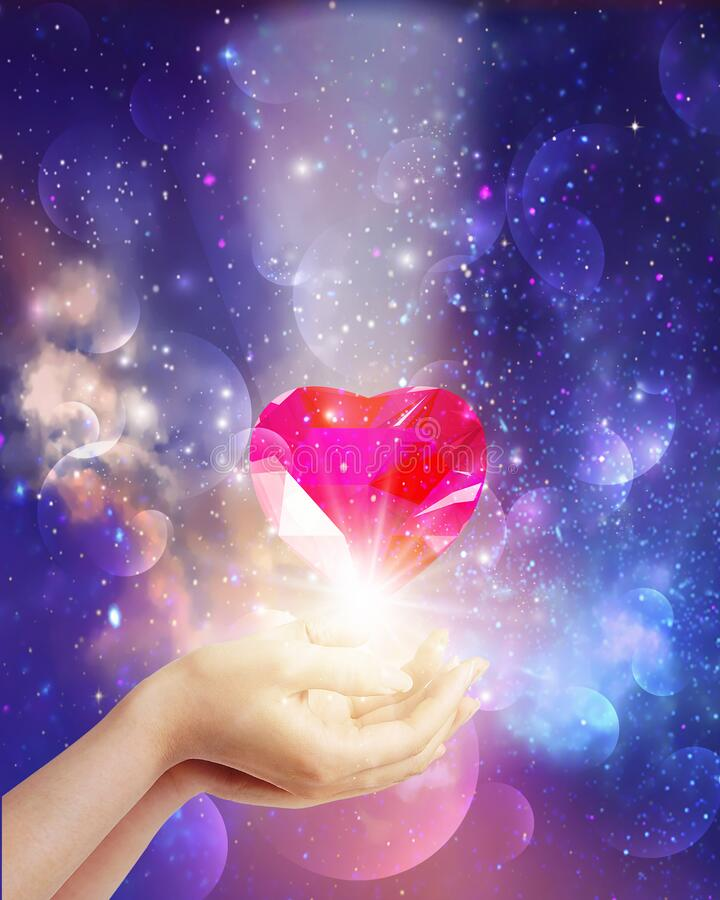 Free Cosmic Love, Universal Diamond Heart In Hands With Spark Of Hope, The Light Of Faith Royalty Free Stock Photo - 210561535