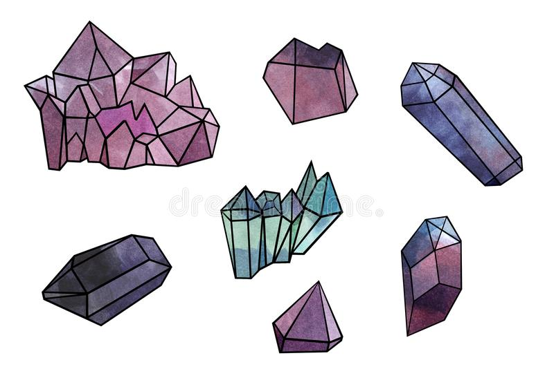 Cosmic minerals set - watercolor illustration`s set isolated on white background royalty free illustration