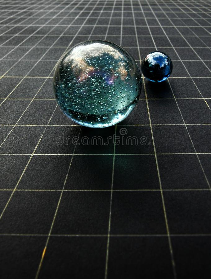Cosmic Orbs. Cosmic spheres illustrate concepts of spacetime and string theory stock photo