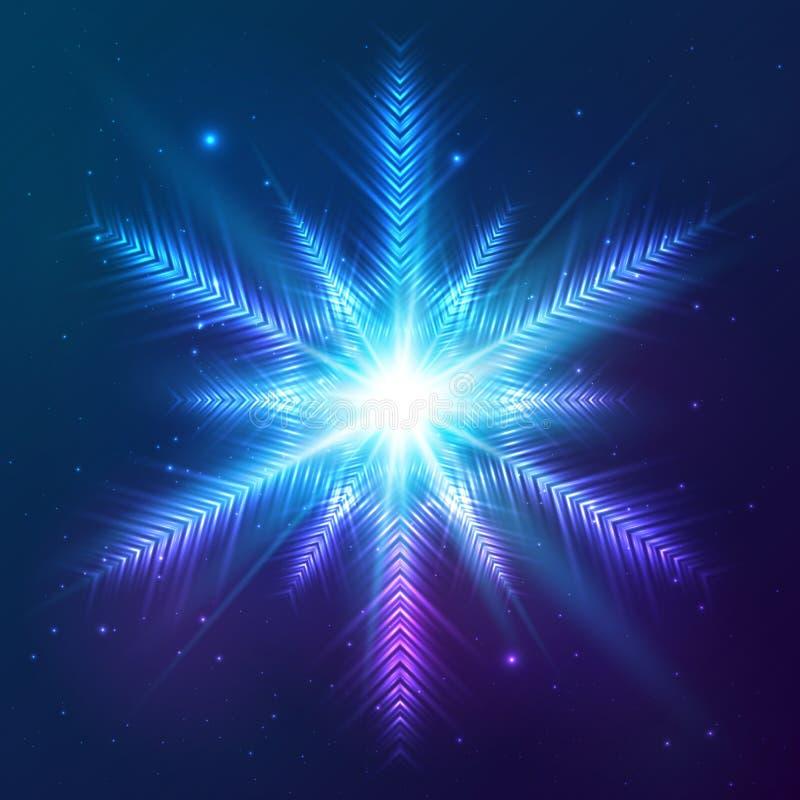 Cosmic Shining Vector Abstract Snowflake Stock Vector