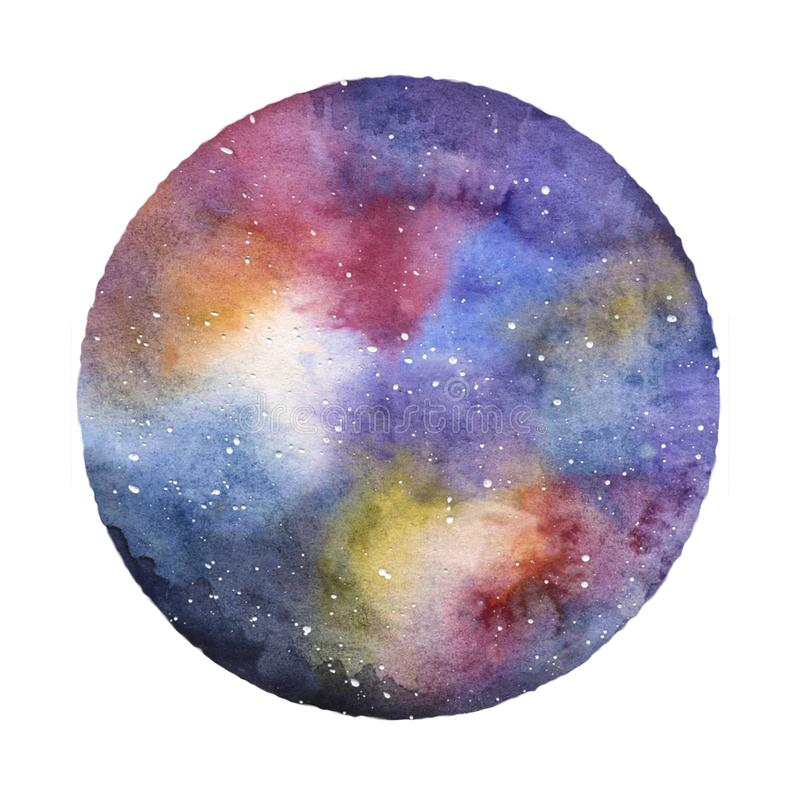 Cosmic sky with stars and galaxies, hand-drawn watercolor illustration stock illustration
