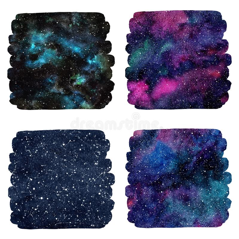 Set of square cosmic, space watercolor backgrounds vector illustration