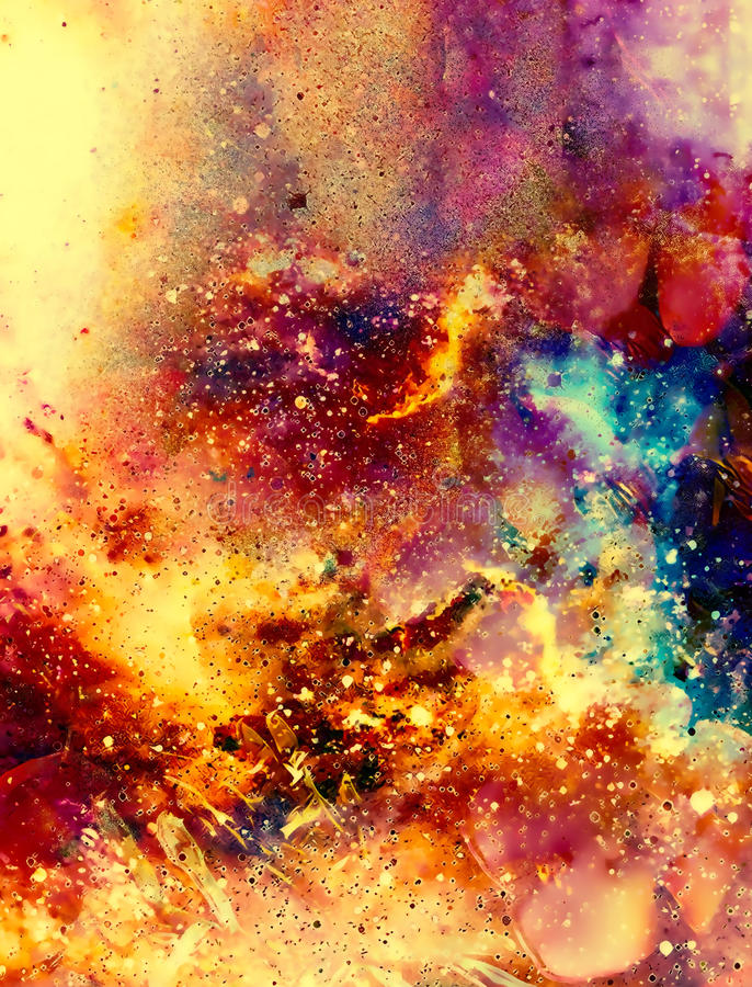 Cosmic space and stars, color cosmic abstract background. Fire effect. Cosmic space and stars, color cosmic abstract background. Fire effect royalty free illustration