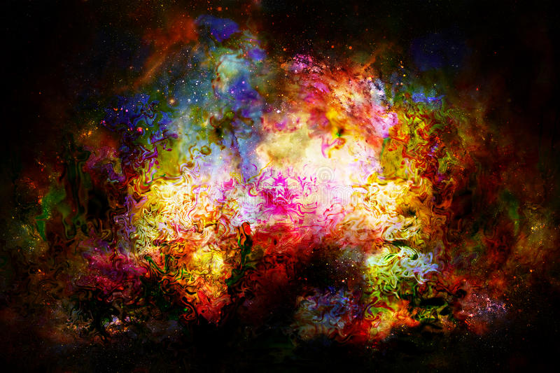 Cosmic space and stars, color cosmic abstract background. Fire effect. Cosmic space and stars, color cosmic abstract background. Fire effect vector illustration