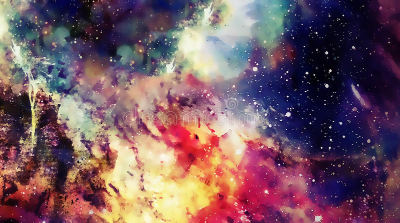 Cosmic space and stars, color cosmic abstract background. Graphic effect. royalty free illustration