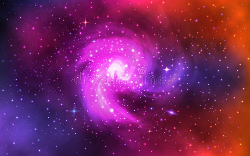 Cosmic spiral galaxy. Realistic color space background with nebula, stardust and shining stars. Universe with colorful stock illustration