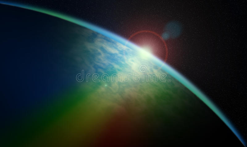 Cosmic sunrise. Sunrise over the horizon unknown blue planet somewhere in the universe taken from orbit. Light flares and rainbow. Astronomy