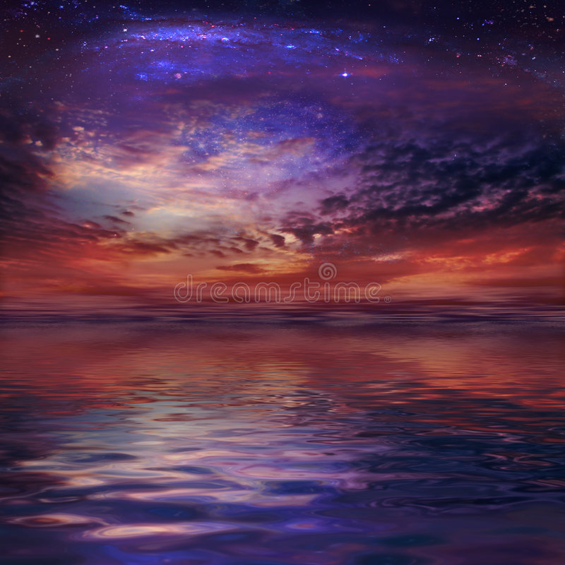 Cosmic Sunset. A beautiful romantic cosmic Sunset royalty free stock photos