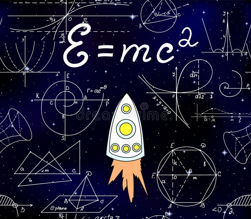 Cosmic vector seamless pattern with flying space ship, stars and handwritten speed of light formula, math plots and figures. Science vector background royalty free illustration