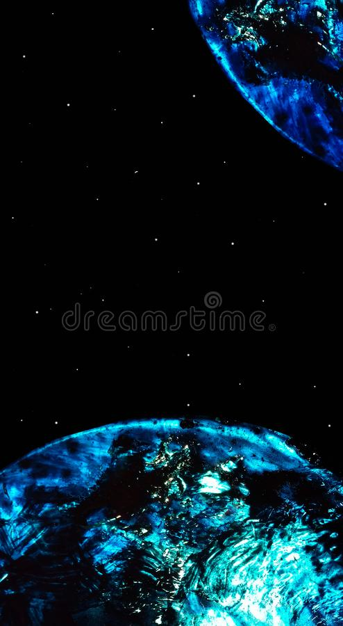 Cosmic vertical banner with two planets in blue and white spills and divorces of liquid oil and a starry sky. Space vector illustration