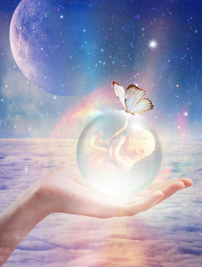 Free Cosmic Womb, Crystal Ball With A Baby Inside, New Born, Star Child, Innocense, Spiritual Renewal Stock Photos - 214295923