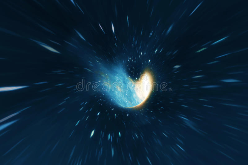 Cosmic wormhole, space travel concept, funnel-shaped tunnel that can connect one universe with another. 3d rendering. Cosmic wormhole, space travel concept stock illustration