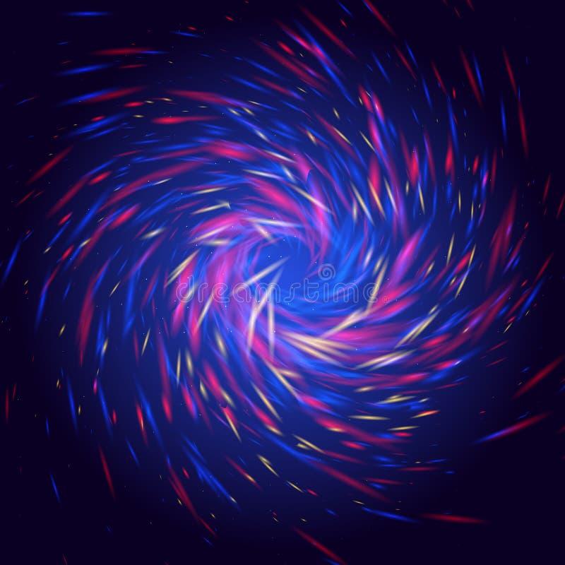 Cosmo-Locken glänzen Licht mit roter, blauer Farbe und gewundener Form des Gelbs lizenzfreie abbildung