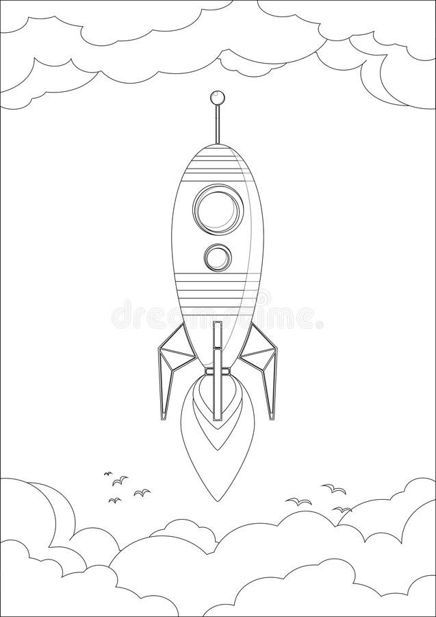 Cosmo Rocket im Himmel mit Wolken und Vögeln stock abbildung