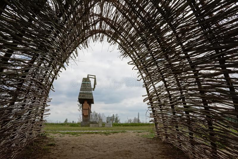 Cosmogolem statue, wooden giant by Koen Vanmechelen stock images