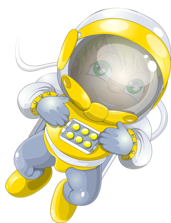 Cosmonaut. The astronaut drawn on a white background stock illustration