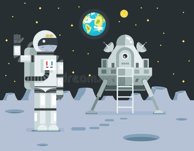Cosmonaut Astronaut Landing Planet Lander Icon on Stylish Earth Moon Stars Background Retro Cartoon Design Vector. Cosmonaut Astronaut Landing Planet Lander Icon vector illustration