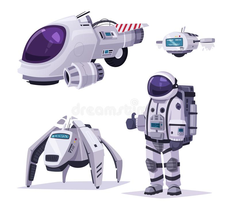 Cosmonaut character, spaceship and robots. Cartoon vector illustration vector illustration