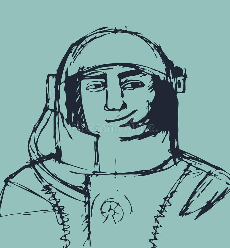cosmonaut El ejemplo del esquema ilustración del vector