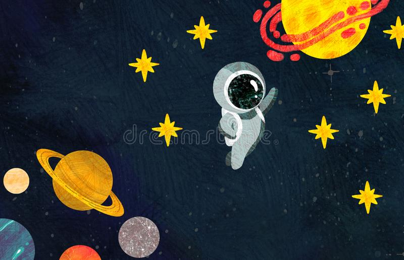 Cosmonaut flies background of the planets and stars stock illustration