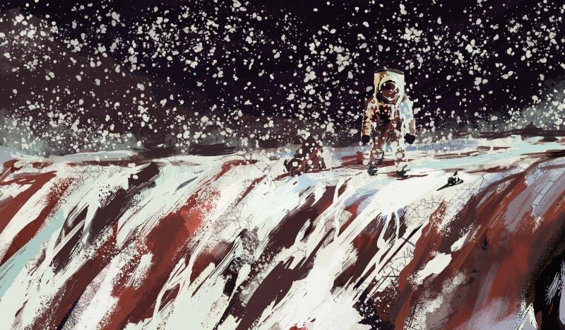 Cosmonaut se abre paso por una zona montañosa a través de un estilo de arte digital Blizzard y nieve stock de ilustración