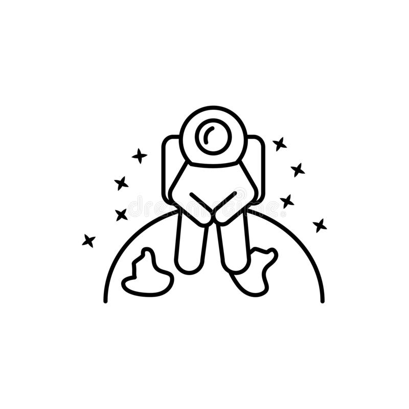 Cosmonaut, sitting, watch icon. Element of astronaut icon vector illustration