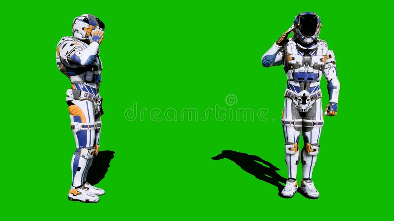 Cosmonaut-soldier of the future salutes in front of the green screen. 3D Rendering. Cosmonaut-soldier of the future salutes in front of the green screen royalty free stock photos