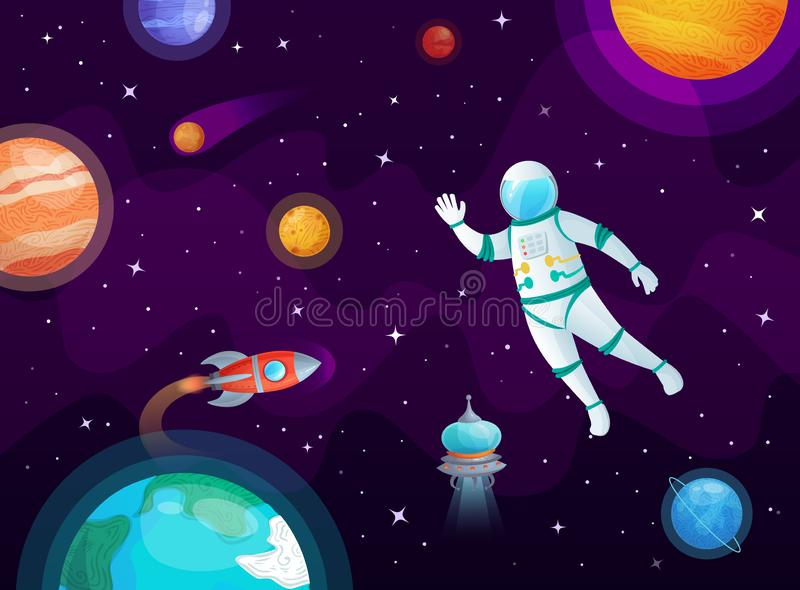 Cosmonaut in space. Astronaut spacecraft rocket in open space, universe planets and planetary cartoon vector background stock illustration