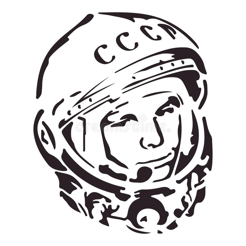 Cosmonaut USSR with signature Let's Go on Russian. Eps 10.  stock illustration