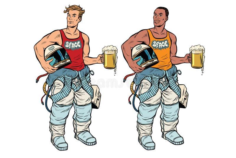 Cosmonauta africano e caucasiano com uma cerveja ilustração royalty free