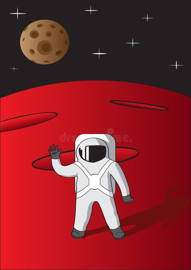 Cosmonauta em Marte ilustração stock