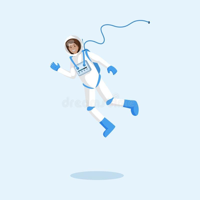 Cosmonauta en el ejemplo flotante del vector del spacesuit Astronauta de sexo femenino, vuelo del explorador en el espacio, grave libre illustration