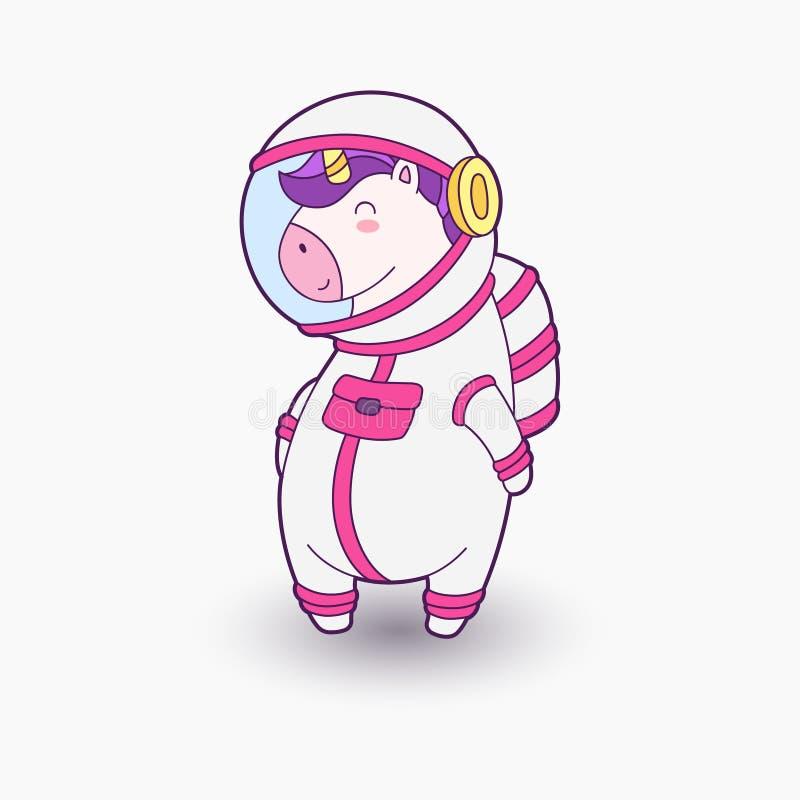 Cosmonauta lindo del unicornio de la historieta Ilustración del vector Unicornio divertido en traje de espacio stock de ilustración