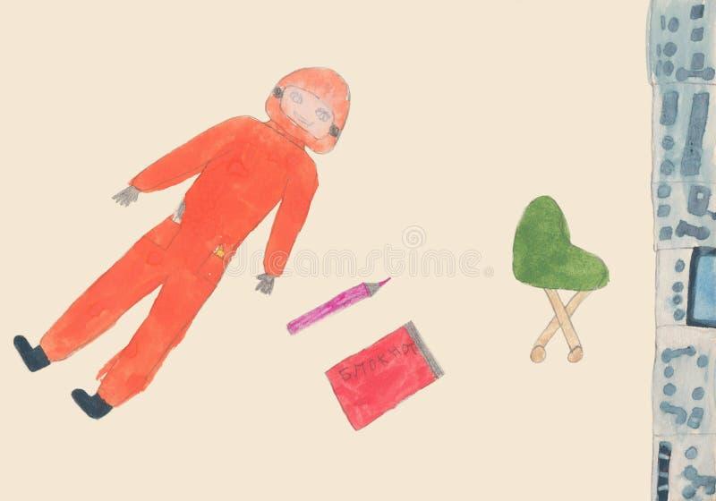Cosmonauta nella cabina del razzo Acquerello del disegno del bambino royalty illustrazione gratis