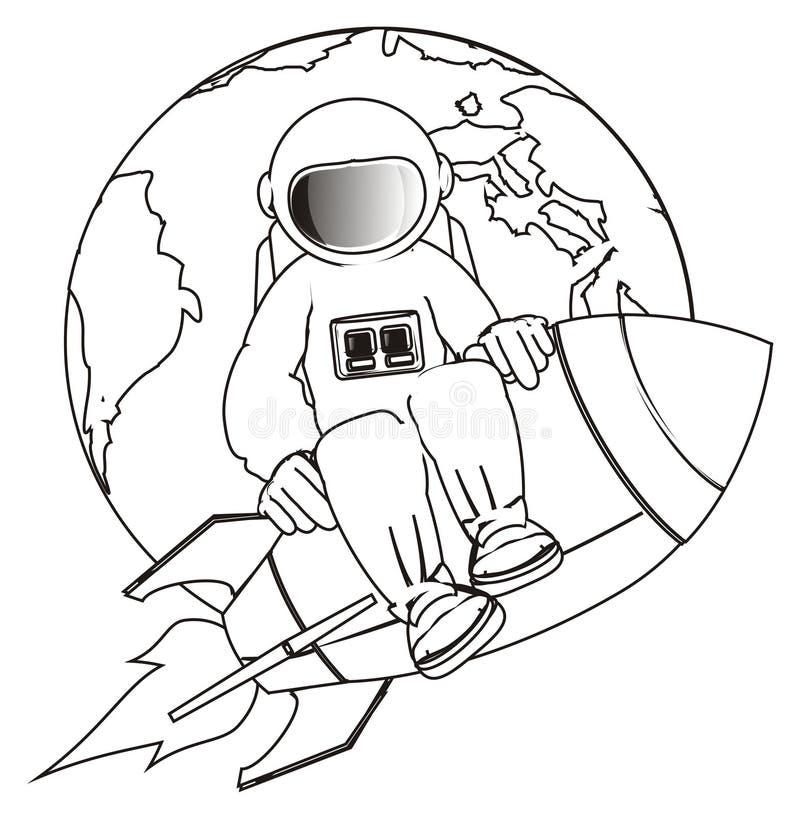 Cosmonauta que colorea en el cohete stock de ilustración