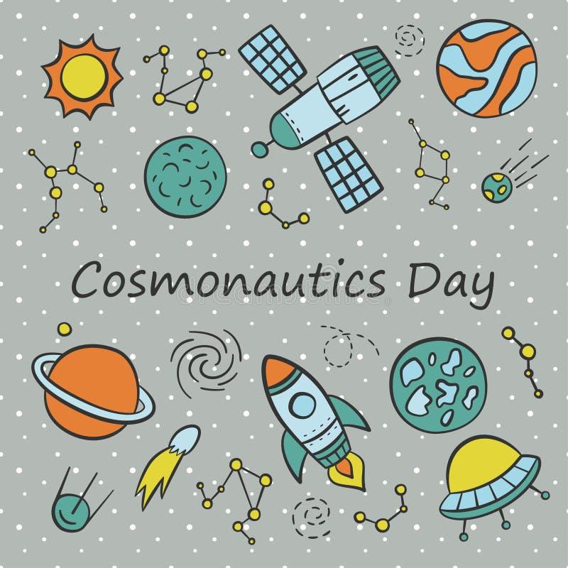 Cosmonauticsdag Kort Uppsättningen av beståndsdelar i klotter och tecknade filmen utformar royaltyfri illustrationer