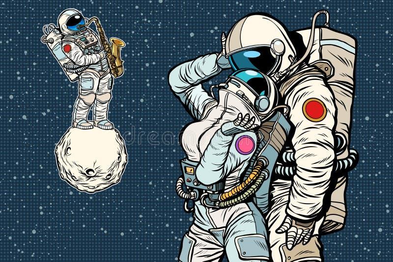 Cosmonauts are dancing. romantic date, man loves a woman. Pop art retro comic book vector cartoon vector illustration hand drawing royalty free illustration