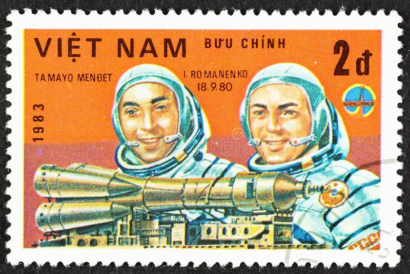 Cosmonauts of Russian Space Program. SEATTLE, WASHINGTON - September 25, 2019: Close up of stamp  featuring cosmonauts  Cuban T Mendez and Soviet I Romanenko stock image