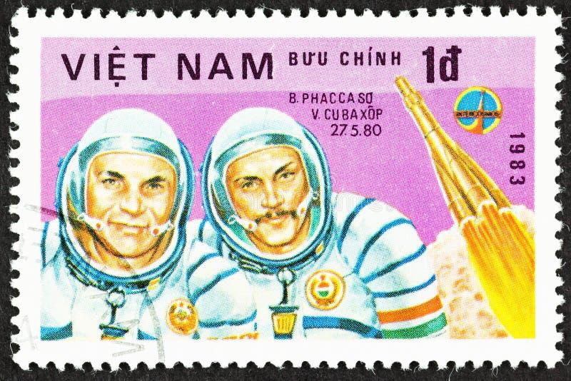Cosmonauts of Russian Space Program. SEATTLE, WASHINGTON - September 25, 2019: Close up of stamp  featuring cosmonauts  Soviet V Kubasov and Hungarian B Farkas royalty free stock photography