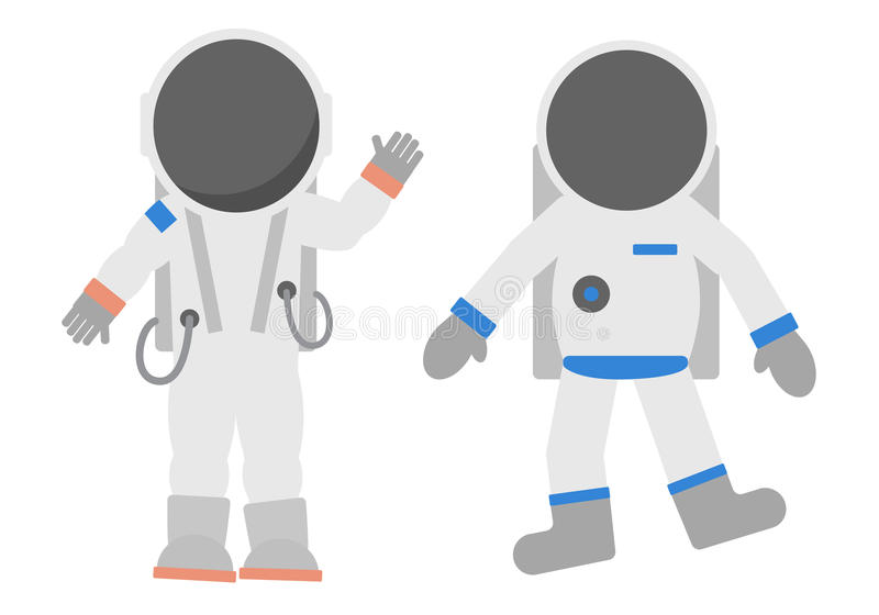 Cosmonauts set. Cosmonauts set on white background. Astronauts in different suits and helmets. Standing and floating. Exploring cosmos vector illustration