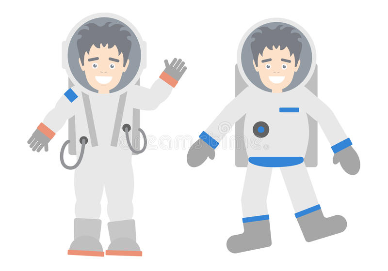 Cosmonauts set. Cosmonauts set on white background. Astronauts in different suits and helmets. Standing and floating. Exploring cosmos. Handsome and smiling man vector illustration