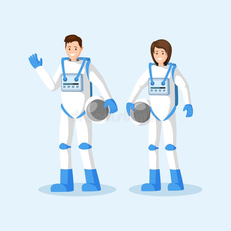 Cosmonauts in spacesuits flat vector illustration. Male and female astronauts standing, waving hand and holding helmets. Cartoon characters. Space mission royalty free illustration