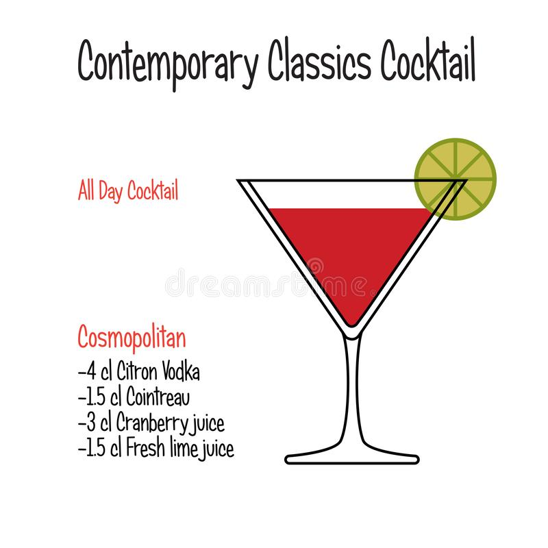 Cosmopolitan alcoholic cocktail vector illustration recipe isolated royalty free illustration