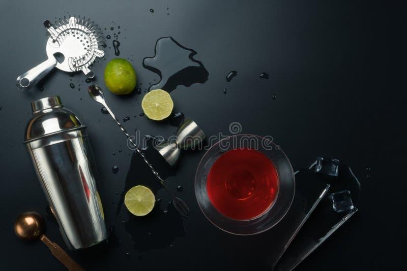 Cosmopolitan cocktail and bar equipments stock photo