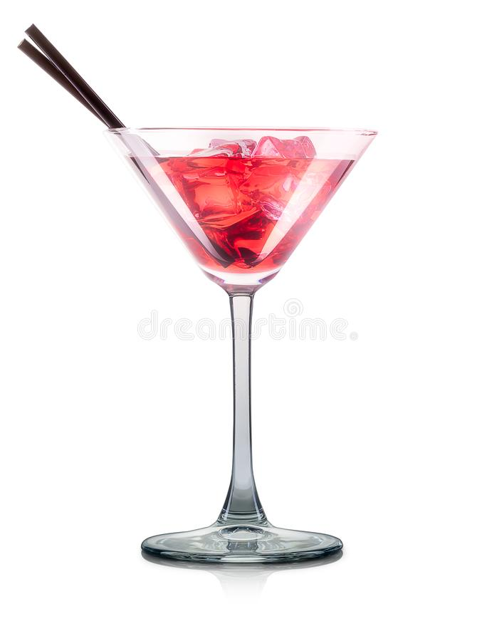Cosmopolitan cocktail in martini glass isolated stock photos