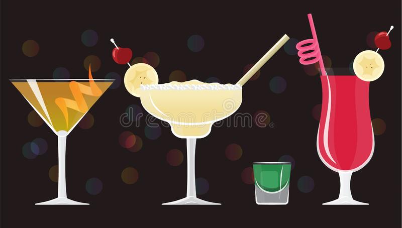 Cosmopolitan cocktail, Old Fashioned, Margarita, Absinthe ,Zombie cocktails. On black mirrored background with bokeh. Vector illustration for web and print vector illustration