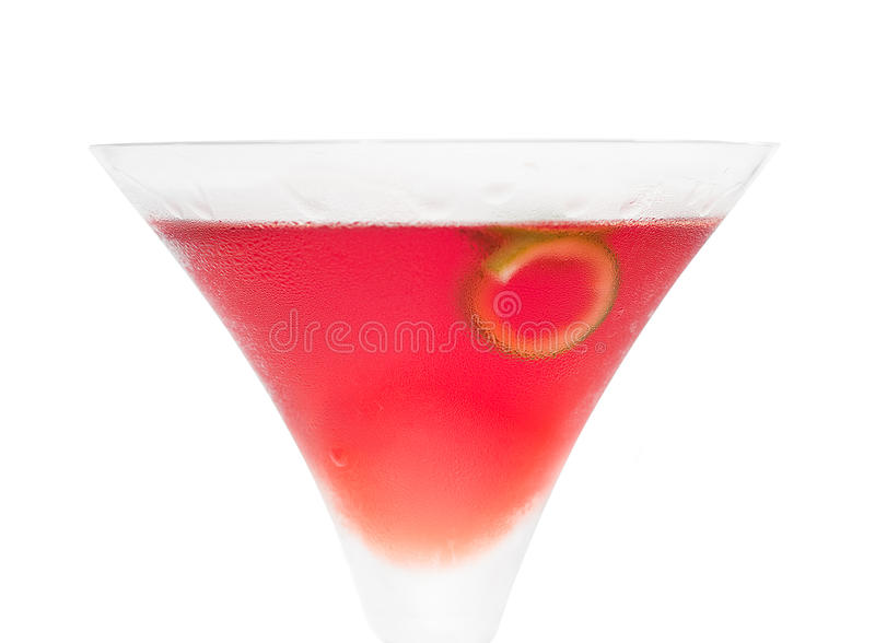 Cosmopolitan drink cocktail. Straight up on martini cup with lime peel isolated on white background royalty free stock photo